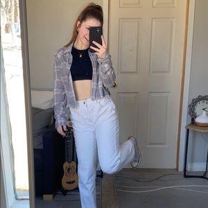 Hollister Grey/White Plaid Button Up Shirt
